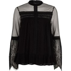 River Island Black dobby mesh lace trim high neck top ($70) ❤ liked on Polyvore featuring tops, blouses, black, women, ruffle hem top, long blouse, lace trim blouse, flared sleeve top and high-neck tops