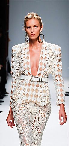 Balmain S/S 2013 - modern style of large oversized jacket with pencil skirt from 90s fashion style.