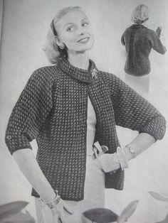 1950s Vintage Knitting Pattern Women's Sweater Jacket 439. $3.00, via Etsy.