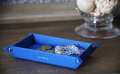 Small rectangular tidy tray Lucrin Crocodile style calfskin 6.7 x 4.3 x 1 - Tan