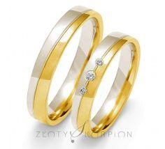 Nowoczesna para obrączek ślubnych z dwukolorowego złota próby 585 z cyrkoniami Swarovski Elements lub brylantami - szerokość 4 mm