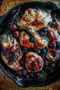 Rosemary Cherry Balsamic Roast Chicken from HeatherChristo.com