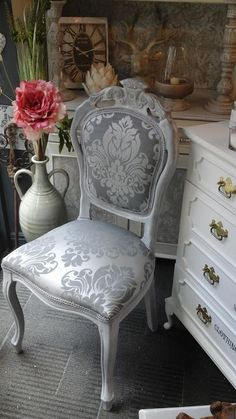 French Louis style chair painted in Frenchic Lady Grey & finished with Frenchic white wax. Silver damask fabric used to complement colour scheme