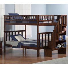 FREE SHIPPING! Shop Wayfair for Atlantic Furniture Woodland Full Over Full Bunk Bed with Stairs - Great Deals on all Furniture products with the best selection to choose from!