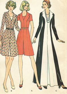 1970s Womens Princess Seam Mini or Maxi Dress by CloesCloset