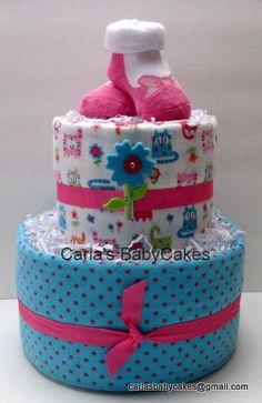 Girl Diaper Cake  Baby Shower Diaper Cake  by MsCarlasBabyCakes, $40.00
