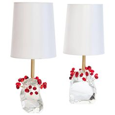 """Pair of Roberto Giulio Rida """"Ciliegie"""" Cherries Table Lamps 