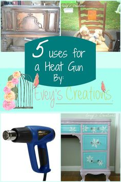 Sweet Song Bird: 5 uses for your heat gun - heat guns can be great for stripping paint before your next furniture makeover. Stripping Wood Furniture, Stripping Paint, Diy Furniture Easy, Diy Furniture Projects, Recycled Furniture, Diy Projects, Furniture Vintage, Furniture Makeover, Project Ideas