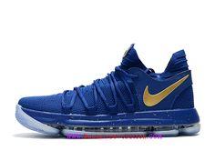 online retailer d2678 b3e00 Classique Nike KD 10 Soirée d´ouverture 2018 Basketball Chaussures Homme Or  bleu 897815 A003-