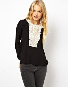 ASOS Top with Ethereal Lace Collar and Bib $64.07