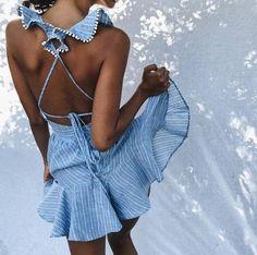 Daria Ruffle cross back Dress
