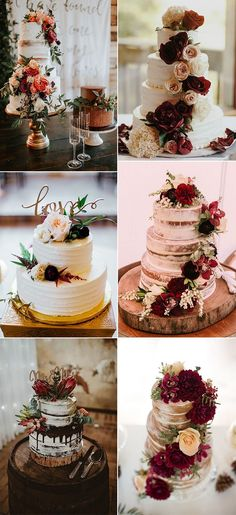 burgundy fall wedding cakes for 2018 trends #weddingcakes #weddingideas #weddinginspiration #fallweddings #cakes