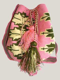 Pink and Green Mochila by THE WAYUU TAYA FOUNDATION | Flechada