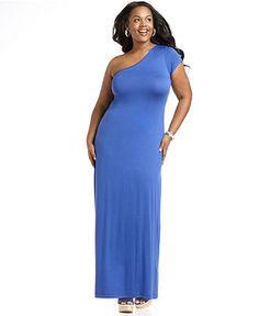 ING Plus Size Dress, One Shoulder Maxi