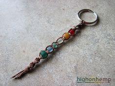 Rainbow Glass Hemp Keychain #rainbow #hemp #keychain