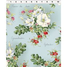 Clothworks Wild Rose by Skipping Stones Y1428-5 Wild Roses on Blue