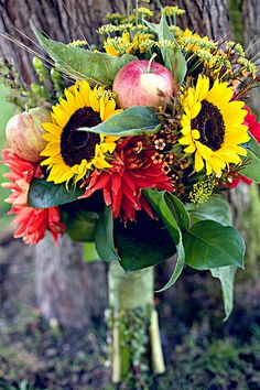 A beautiful fall bouquet with flowers