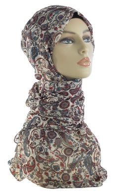 Beautiful Print Hijab to accentuate any of our abayas! Fabric: 100% Chiffon