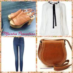 Un outfit anni 70 e sexy con i nostri sandali chunky color cuoio abbinati a skinny jeans, una blusa bianca con nastro nero in raso e borsa color cuoio. www.martinpitalia.it