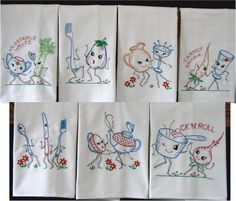dish towels | Embroidered Flour Sack Towels Retro Kitchen by CreationsByChristi