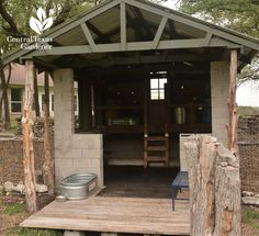cordwood and cinder block shed design in Liberty Hill. Used for little goats!  Central Texas Gardener