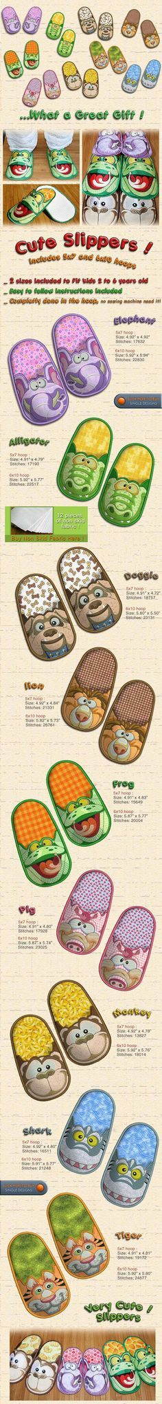 Cute Slippers - Embroidery Designs Free Embroidery Design Patterns Applique