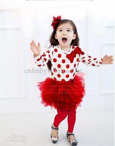 Wholesale 2013 XMAX Baby Girl Red Dress With Polka Dot 2 PCS Set T Shirt And Tutu Skirt Fashion Kids Clothing, Free shipping, $13.82-15.15/Piece | DHgate