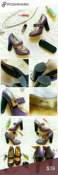 """Michael Kors purple heels *Price Negotiable *No Trades  Cute peep toe Mary Jane style heels in purple from Michael Kors. Strap at midfoot for secure fit. Leather upper. Worn only once to a baptism. EUC  Heel height 4"""" Platform 0.25""""  {10% off bundles of 2+ listings} MICHAEL Michael Kors Shoes Heels"""