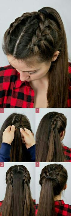 Here's a cute and simple braided ponytail! Seerat brar hairstyles Here's a cute and simple braided ponytail! Seerat brar Here's a cute and simple braided ponytail! Here's a cute and simple braided ponytail! Braided Hairstyles Tutorials, Dutch Braid Tutorials, Ponytail Hairstyles Tutorial, Ponytail Ideas, Hairstyle Ideas, Hair Tutorial Braid, French Braided Hairstyles, Long Hair Tutorials, High Ponytail Tutorial