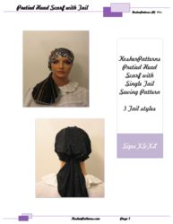 Pretied Head Scarf Tichel Mitpachat Bandana Unitail  XS-XL PDF Sewing Pattern (A4)