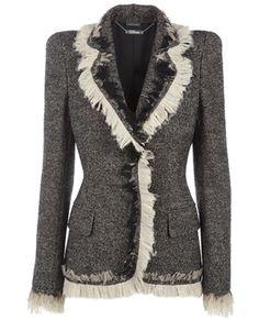 ALEXANDER MCQUEEN Chiffon trim tweed blazer $2255