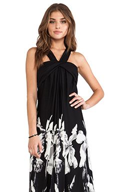 Halston Heritage Halter Strap Printed A-Line Gown in Black | REVOLVE