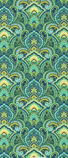 quenalbertini: Green and yellow design Paisley Pattern, Pattern Art, Pattern Design, Green Pattern, Surface Pattern, Paisley Print, Textile Patterns, Textile Design, Motif Oriental