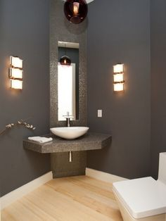 It is undeniable that powder room is the considerable part of your bathroom. You need the perfect design of powder room because it also affects the comfort that you feel the moment you are in the bathroom. Hence, below are ten ideas to remodel your p Modern Bathroom Design, Bath Design, Bathroom Interior Design, Bathroom Designs, Tile Design, Interior Paint, Modern Design, Lavabo D Angle, Corner Bathroom Vanity