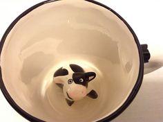 Vintage Sarah Spademan Pottery Cow Mug Cup Animug Surprise Coffee Novelty #Spademan