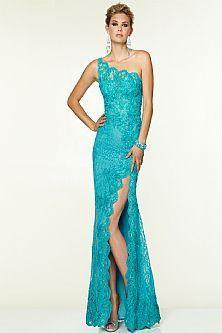 Elegant Sheath One Shoulder Floor Length Side Slit Lace Turquoise Evening Dresses