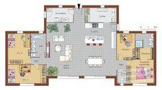 Plan habillé Rez-de-chaussée - maison - Maison bois