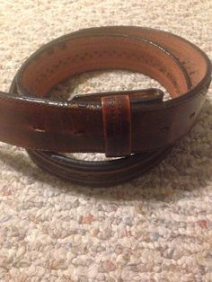 Leegin Silver Creek Western Detail Dark Brown Leather Belt No Buckle Size 33-37"