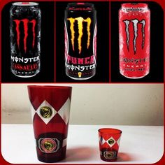 If There's Any Kind Of Monster Energy Drinks That I'd Try With My Red Ranger Cup & Shotglass, It'd Have To Mainly Be Red Assault, Baller's Blend & Ultra Red. #collage #monsterenergy #red #mightymorphinpowerrangers #powerrangers #redranger #tyrannosaurus #cup #shotglass #main #kinds