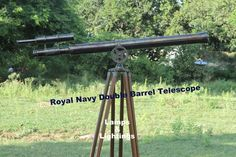 Antique Vintage Solid Brass Nautical Tripod Royal Navy Double Barrel Telescope  | eBay