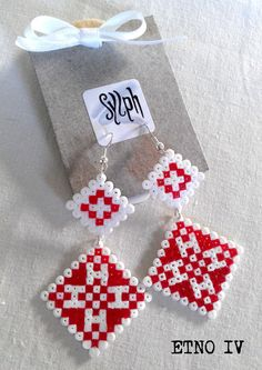 Earrings made of Hama Mini Beads  Etno IV by SylphDesigns