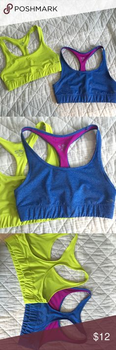"Champion Sports Bras I love these colors, they're just a little too big on me. No stains or tears. The ""Champion"" reflective logo is slightly worn away, as seen in pictures. Make an offer! Champion Intimates & Sleepwear Bras"