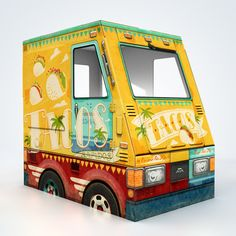 SO cute!  Cardboard food truck playhouses! ~ OTO Taco Truck