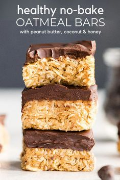 These No-Bake Oatmeal Bars with Peanut Butter & Coconut are the ultimate easy no-bake healthy dessert or snack! They are made in 5 minutes with 7 ingredients  and are gluten and dairy-free! Plus they have no refined sugar and are vegan-friendly! Healthy Sweets, Healthy Dessert Recipes, Healthy Baking, Healthy Drinks, Healthy Food, Easy Healthy Desserts, Baking Desserts, Health Desserts, Healthy No Bake Cookies