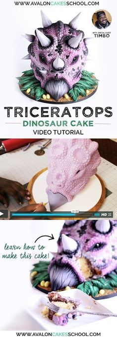 Amazing dinosaur (Triceratops!) cake! Perfect for boy's birthday cakes. Taught by one of the more unique instructors in the industry, Timbo Sullivan! Airbrushing, sculpting, easy structure and more cake decorating tips and tricks! Only on www.avaloncakess