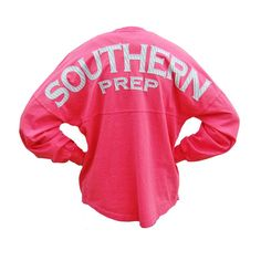 southern prep seersucker long sleeve spirit jersey and other apparel, accessories and trends. Browse and shop 21 related looks. Red Long Sleeve Tops, Red Long Sleeve Shirt, Red Shirt, Spirit Jersey, Simply Southern Shirts, Southern Prep, Southern Charm, Southern Style, Preppy Style