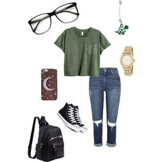 Back to school by jazlynvanessa on Polyvore featuring polyvore, fashion, style, Converse, DKNY, Bling Jewelry, ZeroUV and clothing