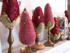 Velvet strawberry look pin cushions from Etsy