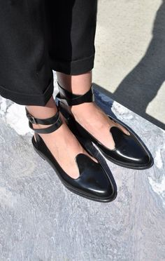 "Rachel Comey Whistle Flat ~~ Smooth, glossy black leather flat with detachable ankle strap. Leather sole, insole, and lining. 0.75"" stacked heel. Dust bag included. Color: Black Satin Composition: 100% leather (cost: 398.00)"