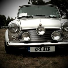 Classic Mini Cooper // I love the rally light arrangement. It works well with the silver car.